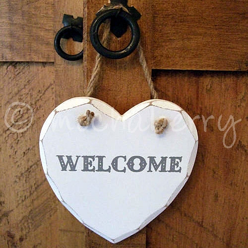Welcome Wooden Heart Wooden Heart Plaques Welcome